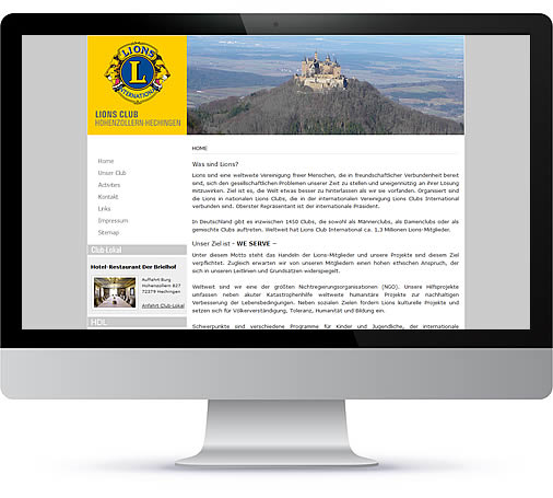 Referenzen Webdesign Heimann - Lions Club Hechingen